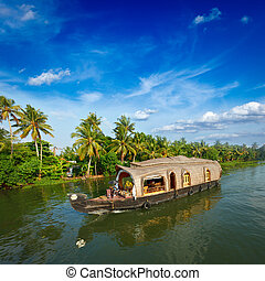 péniche, sur, kerala, backwaters, inde