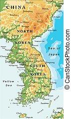 péninsule, carte, coréen, soulagement