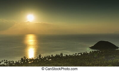péninsule, défaillance, coucher soleil, mer, temps