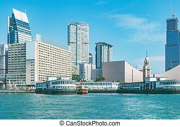 péninsule, jour, kowloon, time., vue, ville