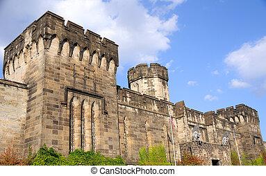 pénitencier, extérieur, oriental, état, philadelphie, murs, historique