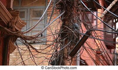 pénurie, désordre, infrastructure, câbles, électrique
