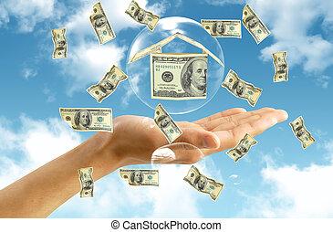 pénz, épület, alatt, kéz