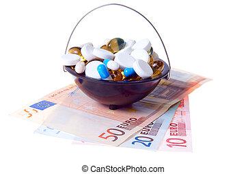 pénz, és, pirula