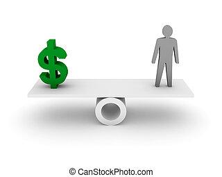 pénz, és, személy, balance.