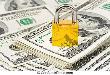 pénz, és, zár