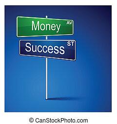 pénz, út, irány, cégtábla., siker