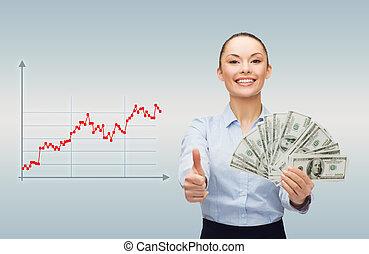 pénz, üzletasszony, dollár, fiatal, készpénz