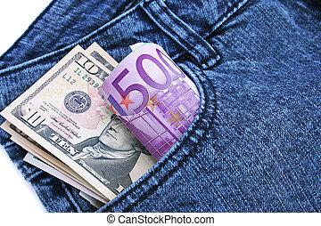pénz, alatt, farmernadrág, zseb