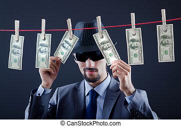 pénz, bűnös, laundering, koszos