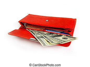 pénz, boldog, bevásárlás, levéltárca, piros