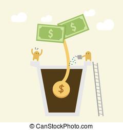 pénz, concept., locsolás, befektetés