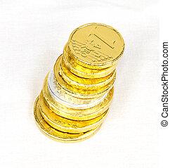 pénz, csokoládé