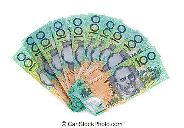 pénz, dollár, jegyzet, ausztrál, műsorra tűz, 100