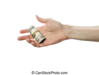 pénz, dollárok, elszigetelt, bennünket, kéz, háttér, fehér, tekercs