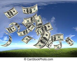 pénz, dollárok