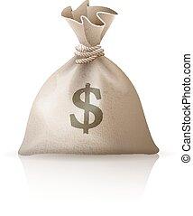 pénz, dollárok, tele, kirúg