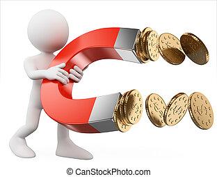 pénz, emberek., mágnes, ember, fehér, vonz, 3