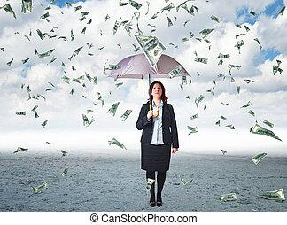 pénz, eső