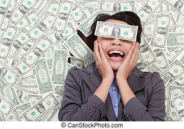 pénz, fekvő, nő, izgatott, ügy