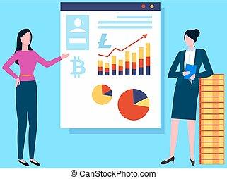 pénz, fogalom, cryptocurrency, growth., nők, pénznem, járatos, új, tanácskozik, újító, anyagi