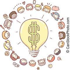 pénz, gyerekek, stickman, gondolat, ábra