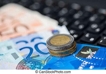 pénz, képben látható, billentyűzet, közül, számítógép
