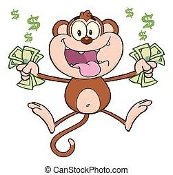 pénz, készpénz, majom, furcsa