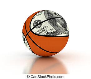 pénz, &, kosárlabda