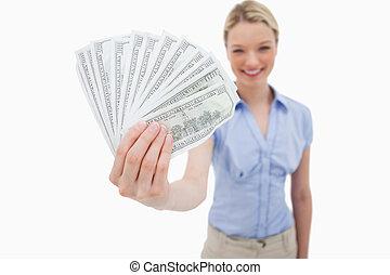 pénz, lény, tartott, által, mosolyog woman