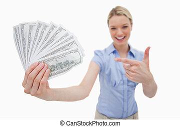 pénz, lény, tartott, és, hegyes, -ban, által, nő