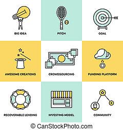 pénz, lakás, befektet, crowdsourcing, ikonok