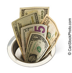 pénz, lefelé, csatornáz