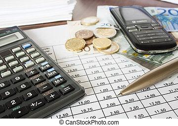 pénz, műsorra tűz, és, számológép