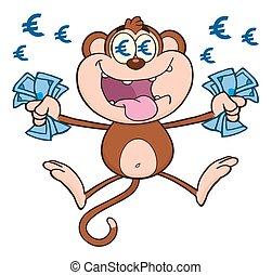 pénz, majom, gazdag, készpénz