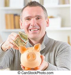 pénz, megmentés, ember