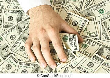 pénz, megragad, kapzsi, kéz