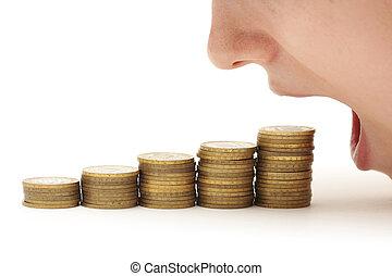 pénz, nő, étkezési