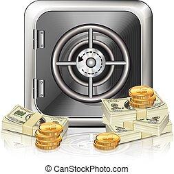 pénz, páncélszekrény, ikon