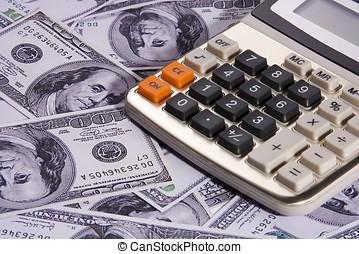 pénz, számológép, felett