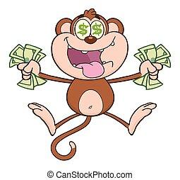 pénz, ugrás, majom, készpénz