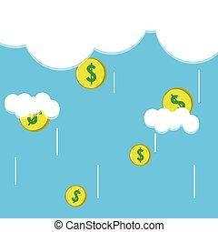 pénz, vektor, esés, ábra, eső felhő