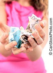 pénz, woman hatalom