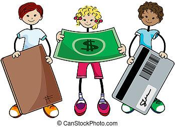 pénzel, gyerekek