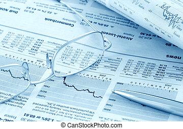 pénzel, hír, áttekint, (blue, toned)