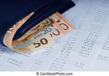 pénznem, alatt, levéltárca