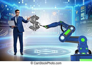 pénznem, kereskedő, modern technologies, használ
