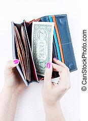 pénztárca, noha, pénz, alatt, kézbesít