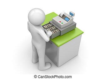 pénztáros, -, munka, bevásárlás, gyűjtés