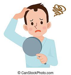 pérdida de pelo, sobre, hombres, preocupación